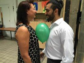 Couple dancing Tango with a globe.